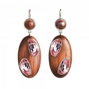 Wood Crystallized Drop Pierced Earrings