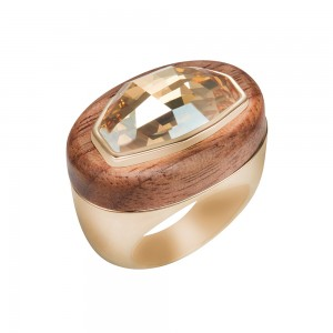 Wood Crystallized Cocktail Ring