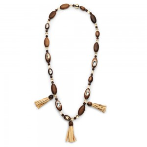 Wood Crystallized Long Necklace