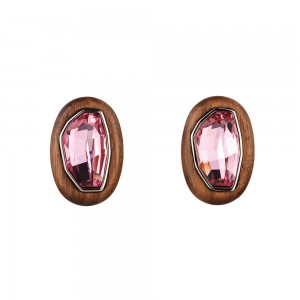 Wood Crystallized Clip Earrings