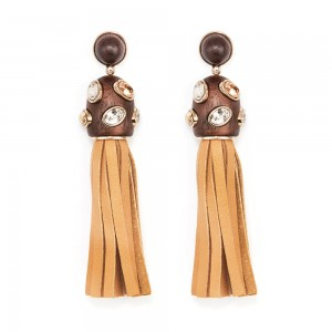Wood Crystallized Pierced Tassell Earrings