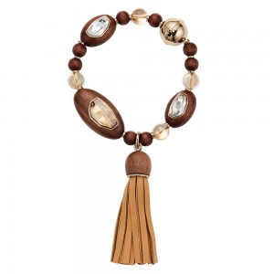 Wood Crystallized Tassel Bracelet